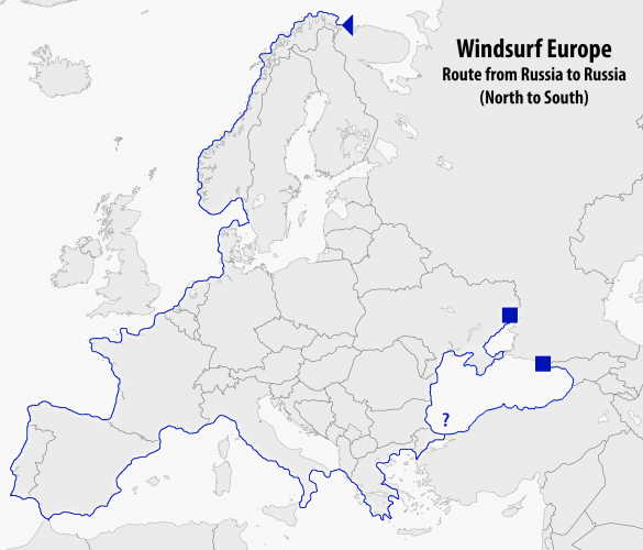 Windsurf Europe - Russia to Russia - route showing both Black Sea options
