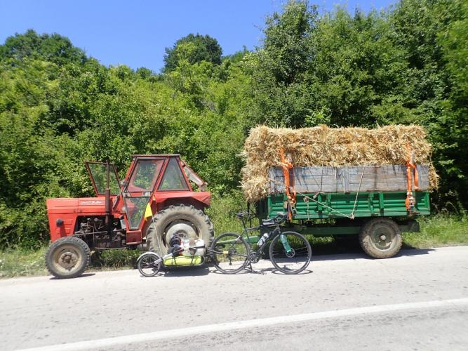 Serbia. Tractors are the vehicle of choice in rural Eastern Europe