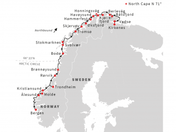 The Hurtigruten route from Bergen to Kirkenes